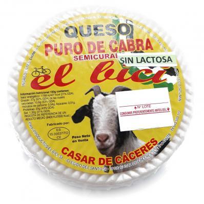 """QUESO SEMICURADO PURO DE CABRA SIN LACTOSA """"EL BICI"""" AL NATURAL 700gr"""